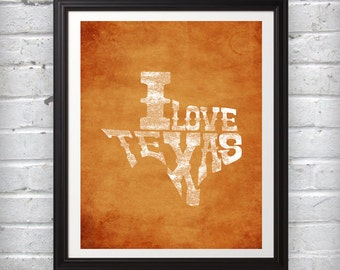 Customized I Love Texas Words Form State orange white red blue distressed wall art photo print