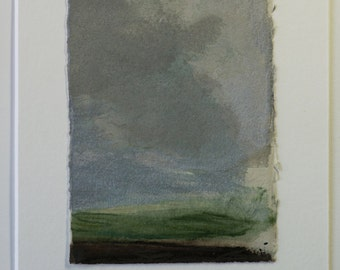 Contemporary landscape painting by Thorie Hinds, 10 X 15.5 cm, original scenic artwork, mixed media on paper. Metal tones. OOAK
