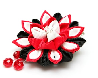 Red, black and white Kanzashi  flower hair clip. Japanese hair clip. Kanzashi hair flower.  Japanese Fabric Flower Clip