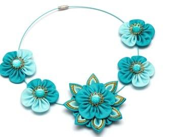 Kanzashi necklace. Turquoise kanzashi fabric flower necklace. Blue necklace. Floral necklace. Turquoise