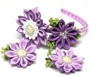 Lilac purple Kanzashi  flower set. A headband and 2 hair clips. Flower crown. Wedding headpiece. Kanzashi flower crown. Kanzashi headband