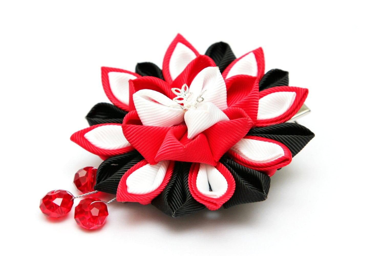 Red Black And White Kanzashi Flower Hair Clip Japanese Hair Clip