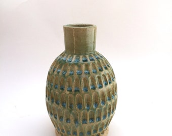 Carved Green Vase