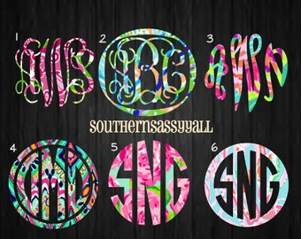 New Lilly Pulitzer Inspired Monogram Decals, lilly sticker, Lilly sticker, car decals, Yeti monogram, yeti sticker, 3 WEEK PRODUCTION TIME.