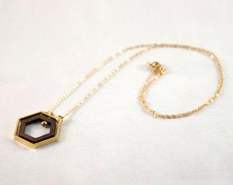 Minimalist Hexagon Necklace, Gold Tone with Walnut