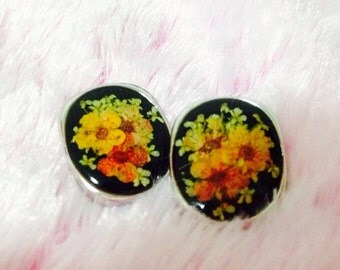 Pressed Flower Jewelry- Floral Jewelry- Resin Jewelry- Real Flower Jewelry- Post Earrings- Stud Earrings