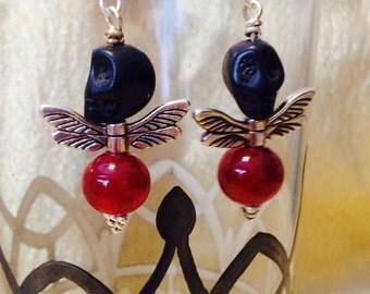 Black Skull Fly Earrings, Skull Earrings, Dragonfly Earrings, Dangle Earrings, I LOVE SKULLS,