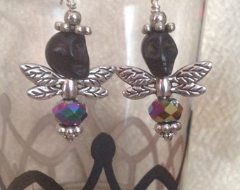 Black and Iridescent Crystal Skull Fly Earrings