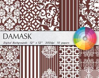 Brown damask digital paper Brown digital paper Brown damask digital paper Brown damask digital paper Brown damask digital paper 10pk