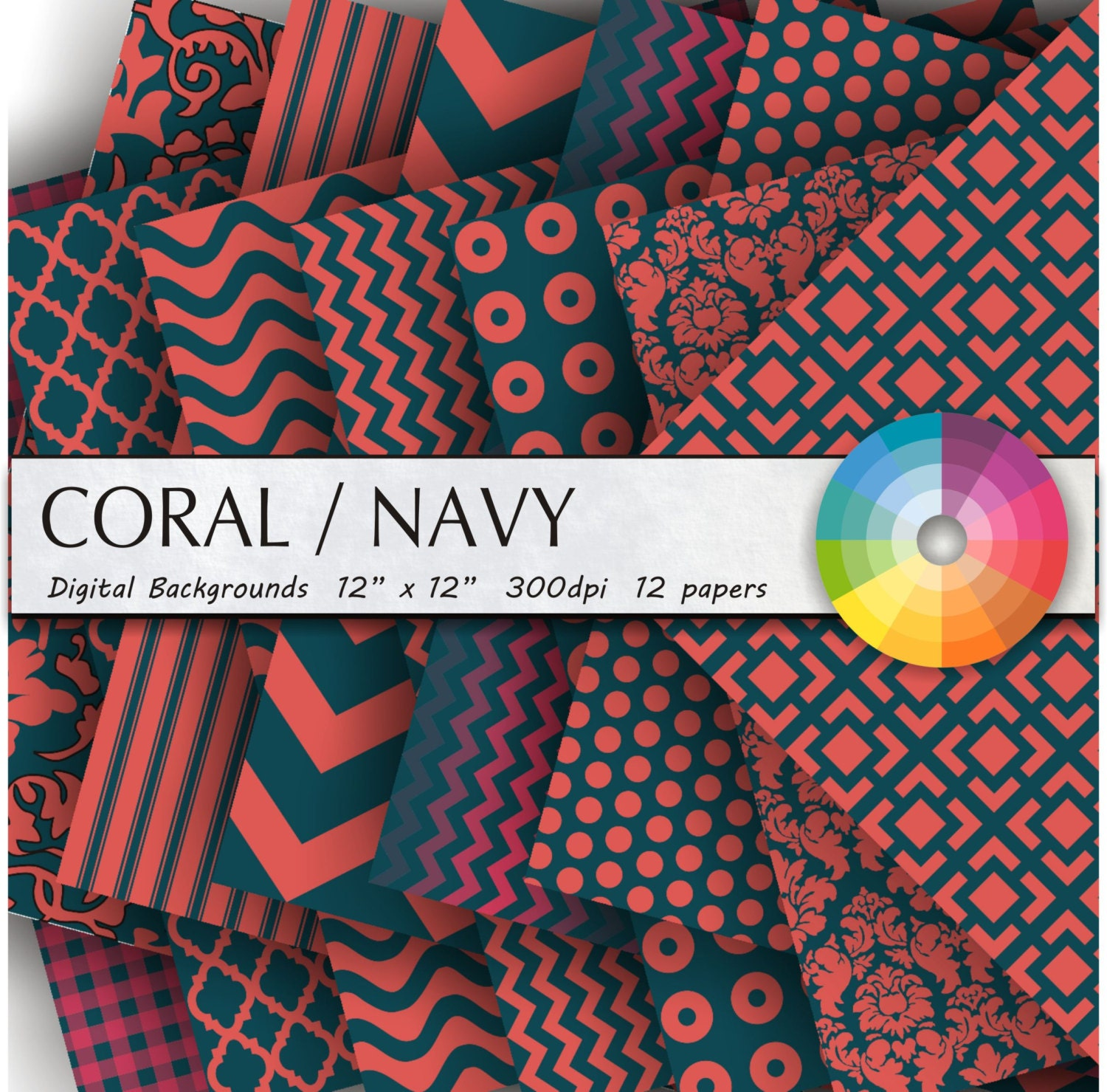 Navy Coral digital paper digital paper coral background ...