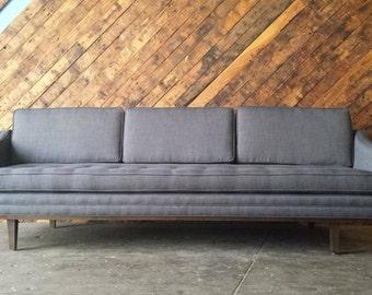Mid Century Style Sofa with Walnut Trim