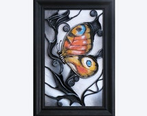 Hand-Painted Leather Art Wall Decor Picture, Wooden Frame, Hand Painted Butterfly, Acrylic Paste Relief Background