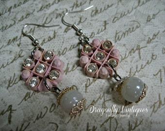 Vintage Assemblage Earrings, Repurposed, Upcycled Jewelry, , Vintage Beads, Recycled Jewelry, Vintage Buttons(13)