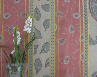 Maxwell Fabrics Indoor/Outdoor New Leaf Fabric in Green, Coral and Taupe
