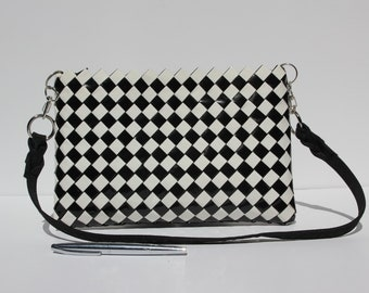 Recycled black & white wrapping paper purse