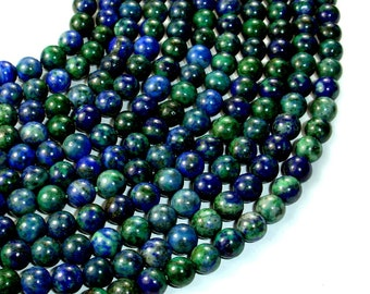 Azurite Malachite Beads, Round, 6mm (6.7mm), 15.5 Inch, Full strand, Approx 61 beads, Hole 1 mm, A quality (129054004)