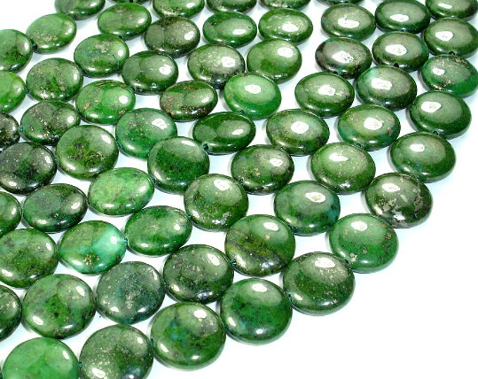 Green Chalcopyrite Beads, Coin, 14mm, 15.5 Inch, Full strand, Approx 29 beads, Hole 1 mm (264008001)