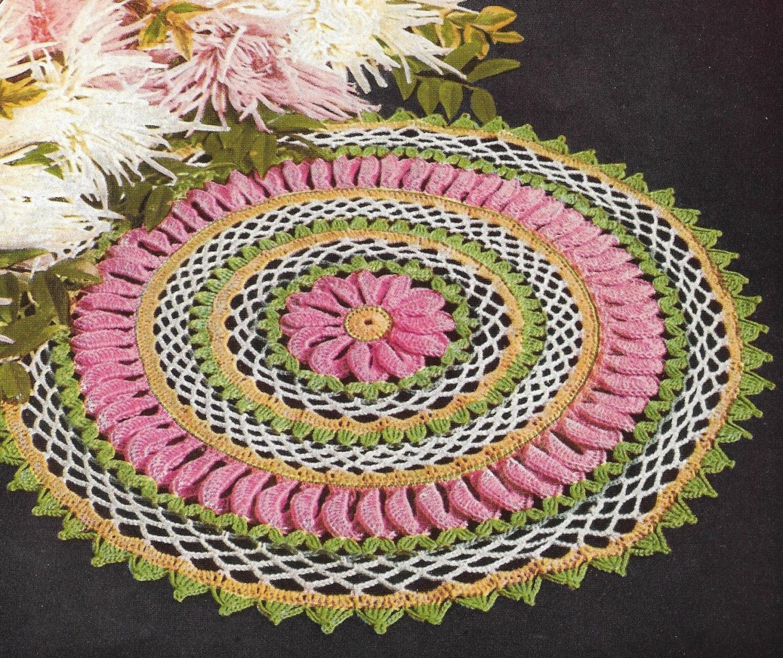Free Crochet Patterns No Download : Crochet Doily Pattern Vintage Multi-Color Doily Pattern