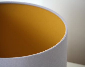 Lampshde Mustard yellow and grey handmade drum