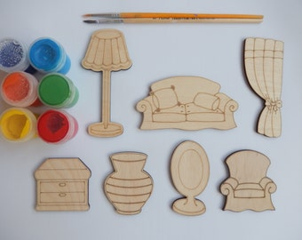 7 Furniture Wooden Craft Shapes for Kids and Adult Coloring.Kids Crafts Toys.Easy Kids Craft Supplies.Simple Kids Crafts.Wood Cutouts-005