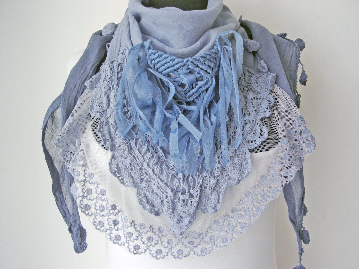 gift for blue scarf boho scarves vintage by
