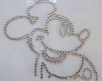 MICKEY MOUSE Iron On / Hot Fix Rhinestone, Diamante, Transfer, Motif, Bling
