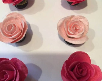 Handcrafted Pink Paper Flower Magnets-Set of 6