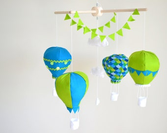 Hot Air Ballon Baby Mobile, Baby mobile, Baby hanger, Mobile, Balloon, Bunting, Cloud, Nursery