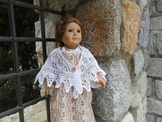 Knitting Pattern For Dolls Shawl : AGD Fern Lace Shawl. PDF Knitting pattern for 18 inch dolls.