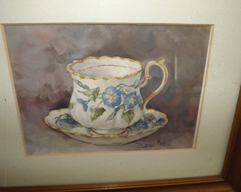 Beautiful Tea Cup w. Morning Glory Flowers Gold Framed Picture by Barbara Mock