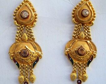 traditional design 20k gold earrings ear plug handmade jewelry rajasthan india