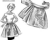 PDF 1950s Persian Cats & Peacock Gingham Cross-Stitch Aprons Pattern PDF