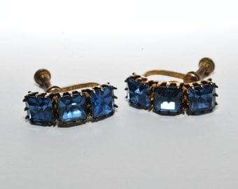 Saphhire Blue Rhinestone Earrings