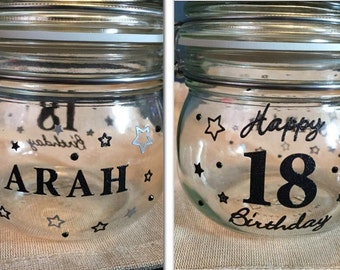 Personalised birthday glass jar present gift - 13th, 16th, 18th, 21st, 30th, 40th, 50th, 60th