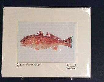 11x14 Gyotaku fish rubbing - Redfish