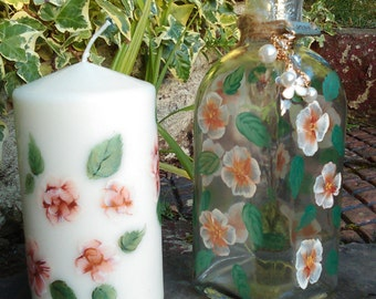 Hand Painted Candle and Glass bottle with a Gold and White flower design