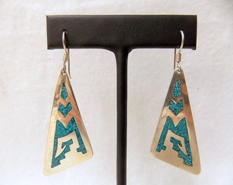 Vintage Native American Tribal Sterling Silver and Turquoise Earrings #91