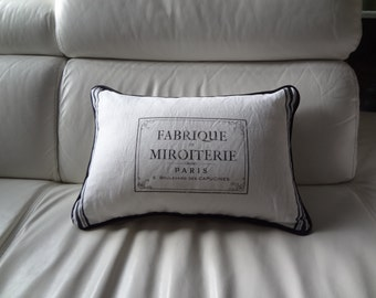"""Decorative Cushion 13"""" x 20""""/White Cotton and French Vintage Style Lettering/Black Border Stripes and Black Piping/Fiberfill"""