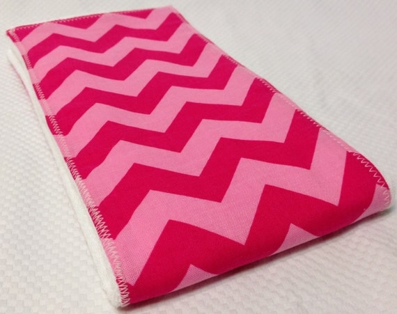 Burp Cloth - Pink on Pink Chevron- FREE Embroidery