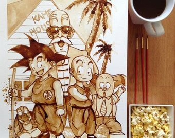 Dragon ball Z coffee painting