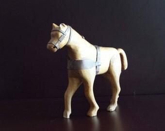 Vintage Wooden Horse Sculpture