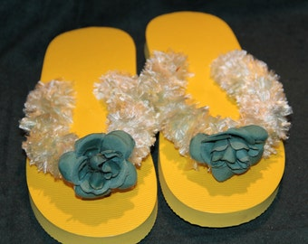 Flip Flop is yellow with blue crochet yarn & a blue flower on top, shoe, sandals ,comfort for your feet