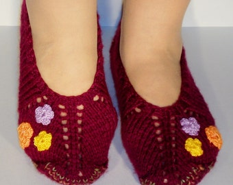 Women Slippers. Hand Knitted