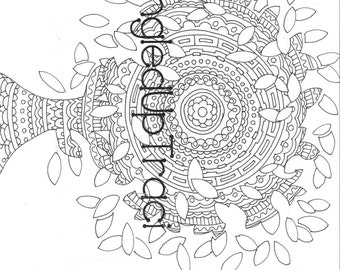 Treelusion - a beautiful and intricate adult coloring page