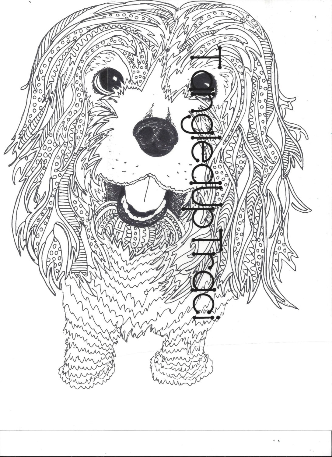 Detailed and intricate dog zentangle coloring by ...