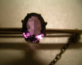 9K (9ct) Gold Amethyst Art-Deco brooch