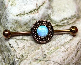 Fire Opal Bronze Anodised Scaffold/Industrial Piercing Barbell - UK Seller