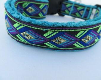 "1"" HEMP adjustable collar hand dyed with jaquard ribbon overlay"