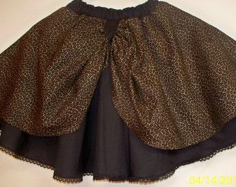Leopard on Black Circle Skirt