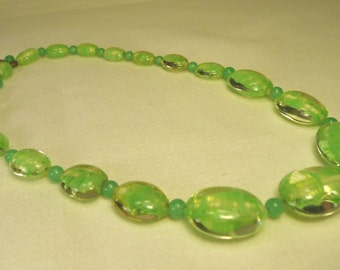 Antique Vintage Bohemian Art Deco Glass Bead Necklace Flat Oval Bead Green Clear